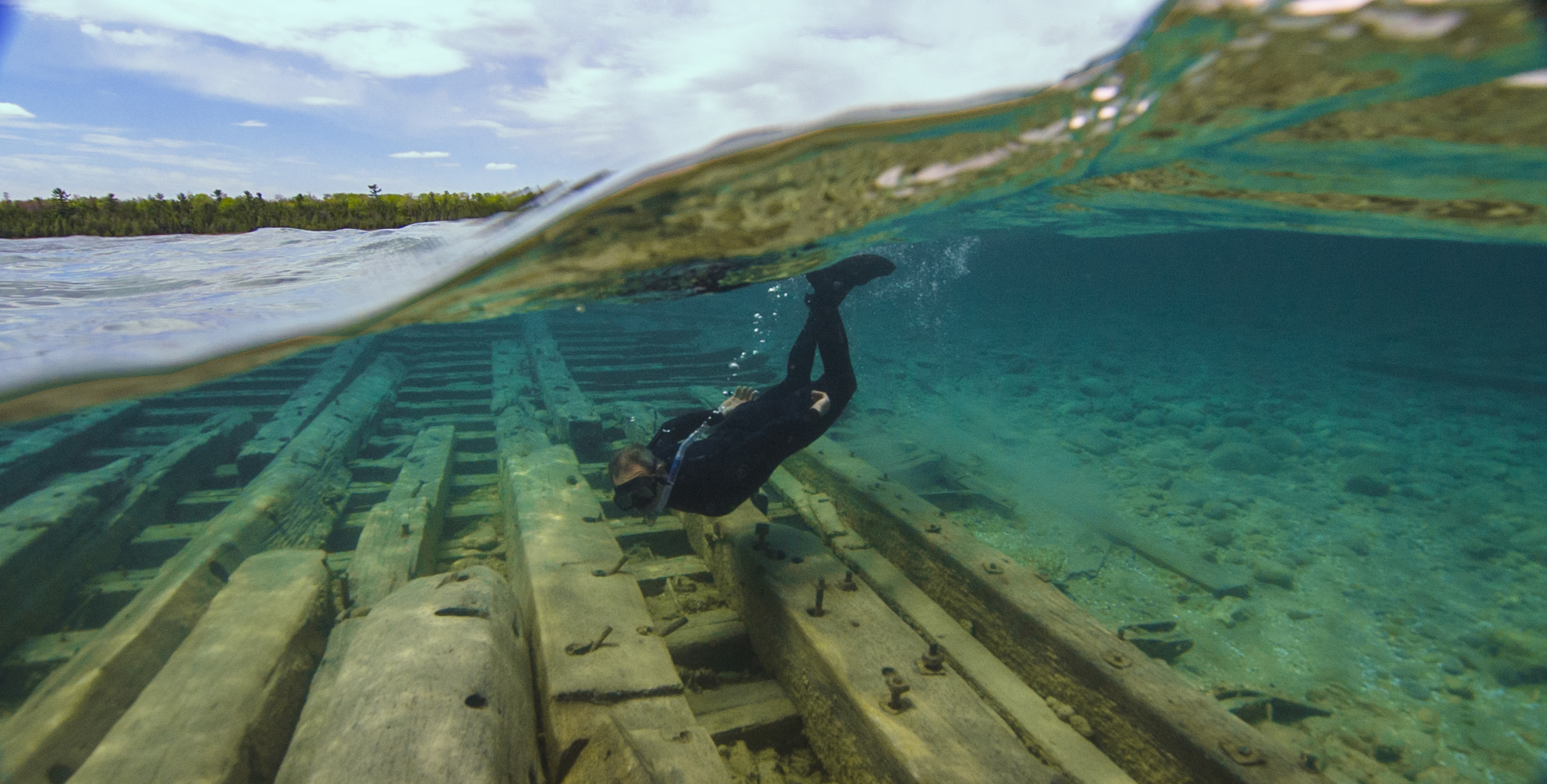 Diver over Albany Shipwreck. Photo by David Ruck.