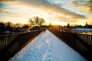 Winter walks on the bridge behind the Thunder Bay National Marine Sanctuary