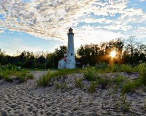 Sturgeon Point Light sunrise - Northern Living Photography