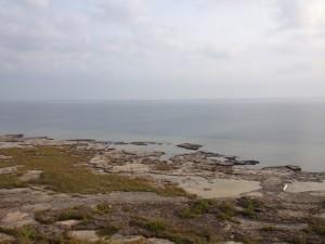 The rocky shoreline along Thunder Bay Island