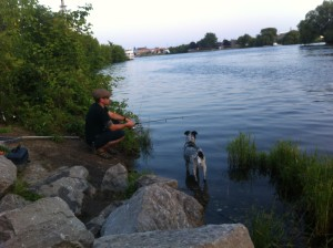 Casting a line on the Thunder Bay River
