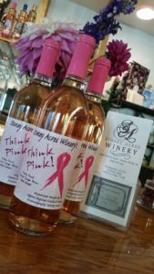 "Stoney Acres special edition ""Think Pink!"" wine for breast cancer awareness."