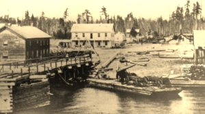 Alpena's first 2nd Avenue bridge in 1865