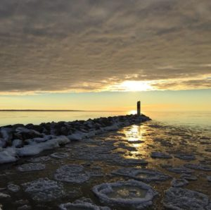 Pancake ice formations at the break wall at Alpena's Small Boat Harbor. Photo by Loren Jackson.
