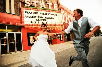 Melissa and Andy Lappan's wedding photo in front of the State Theater.