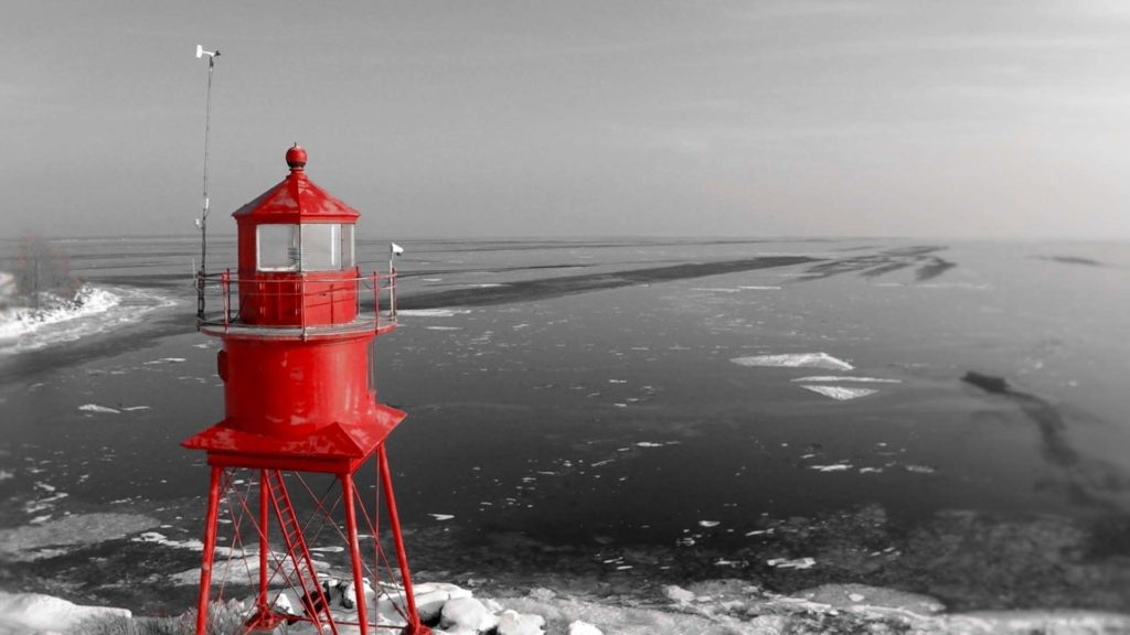 Little Red against the backdrop of winter on Lake Huron; photo courtesy of Infinity Graphic Design