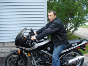Edward loved his motorcycle and started urban biking while stationed in Germany.