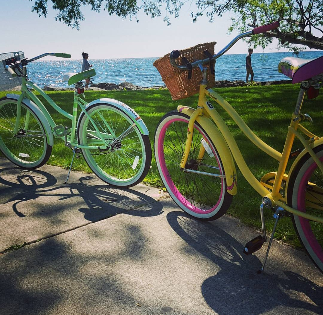 Bikes on the bi-path along Lake Huron