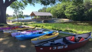 Kayaks and canoes ready for launch at Duck Park