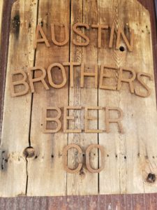 Austin Brothers Beer Company wooden sign