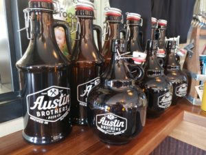 Glass growlers and howlers at Austin Brothers Beer Company