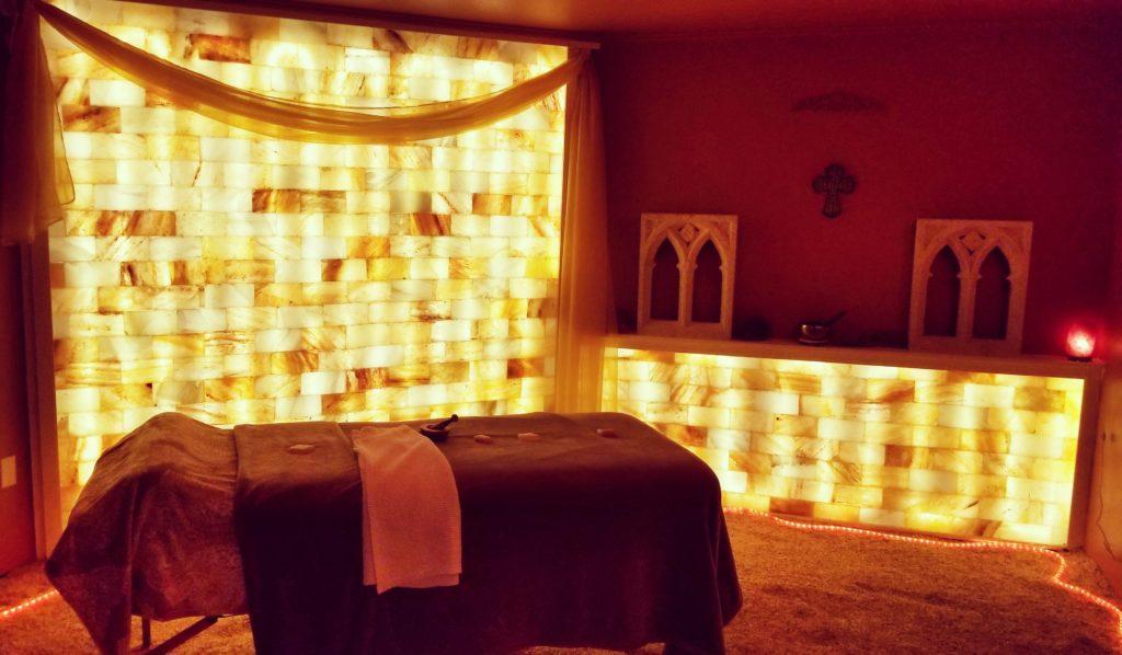 Alpena Salt Spa salt room and massage table
