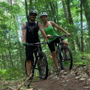 Mary Beth and Casey Stutzman biking at Norway Ridge Pathway